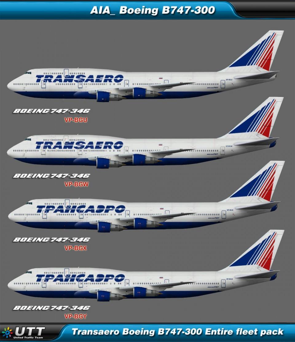 Boeing B747-300 Transaero (Entire fleet pack)