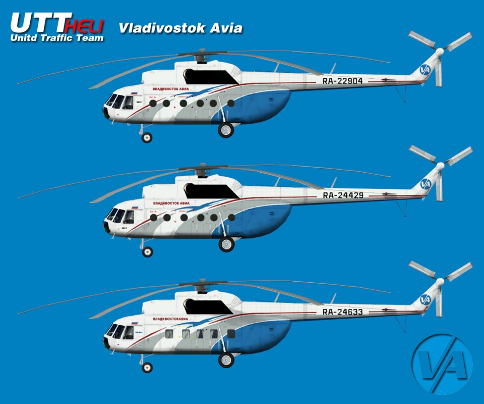 Vladivostok Avia AI Helicopters Mi-8T (Entire fleets pack)