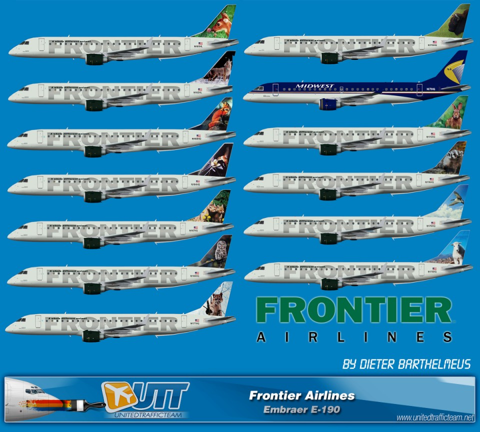 Frontier Airlines Embraer E-190 fleets (circa end of 2012)