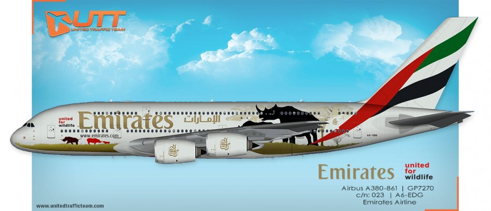 "UTT AI Airbus A380 (TFS) Emirates A6-EDG ""United for wildlife"""