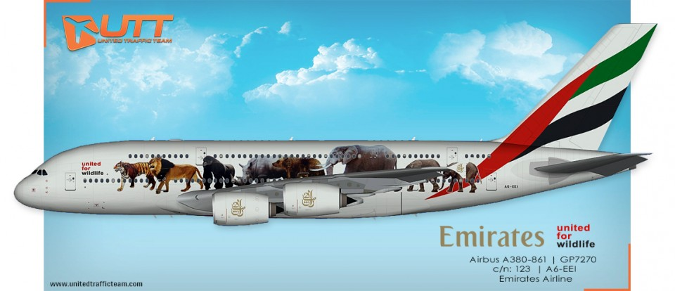 "UTT AI Airbus A380 (TFS) Emirates A6-EEI ""United for wildlife"""