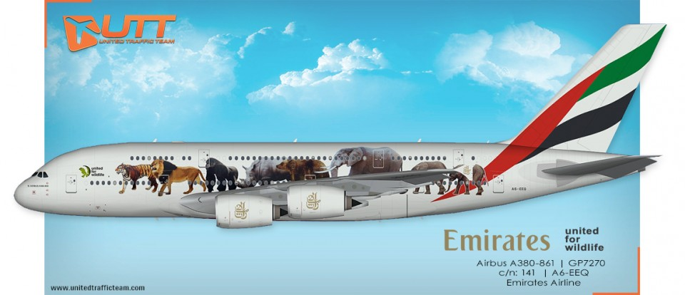 "UTT AI Airbus A380 (TFS) Emirates A6-EEQ ""United for wildlife"""