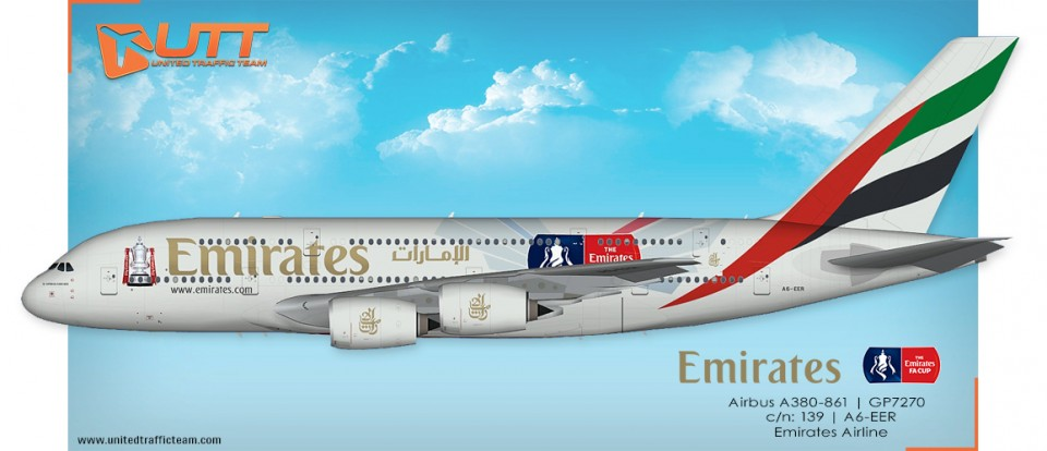 "UTT AI Airbus A380 (TFS) Emirates A6-EER ""Emirates FA Cup"""