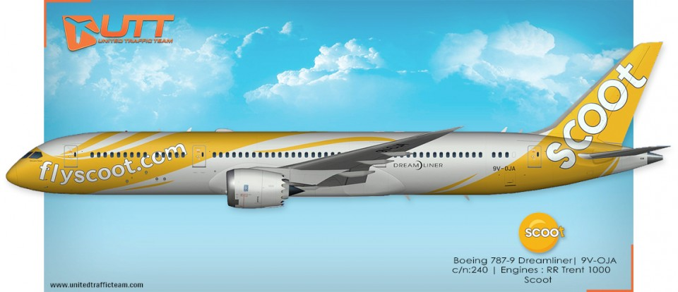 Scoot 9V-OJA for UTT AI  Boeing 787-9