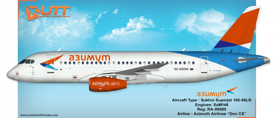 "UTT AI Sukhoi Superjet 100 Azimuth RA-89080 ""Don CS"""