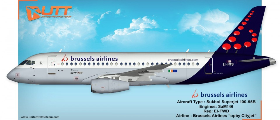 UTT AI Sukhoi Superjet 100 Brussels Airlines EI-FWD