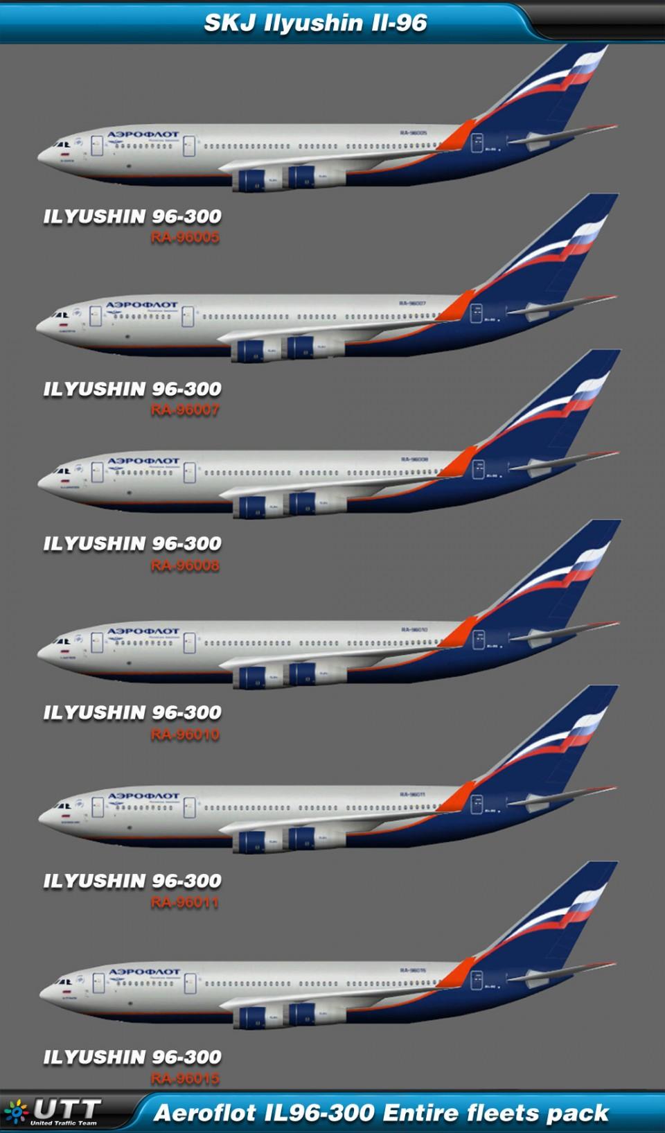 Ilyushin Il-96 Aeroflot (Entire fleet pack)