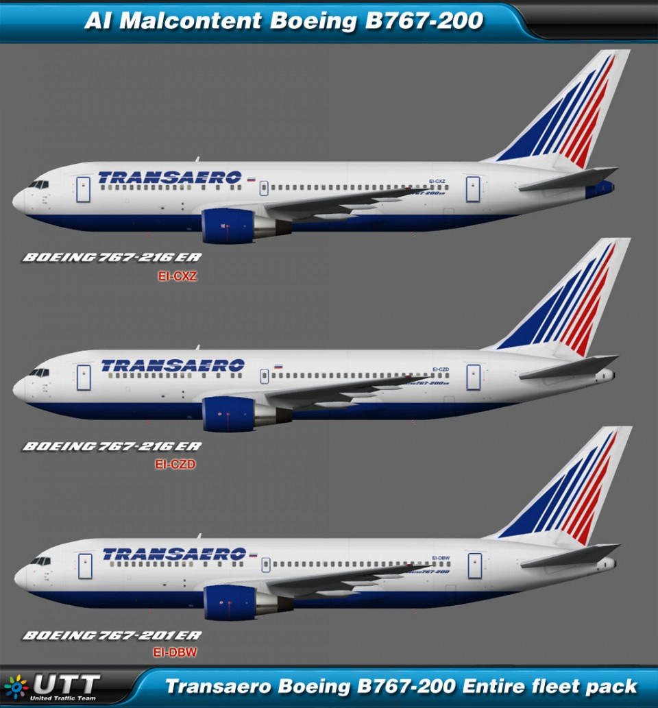 Boeing B767-200 Transaero (Entire fleet pack)