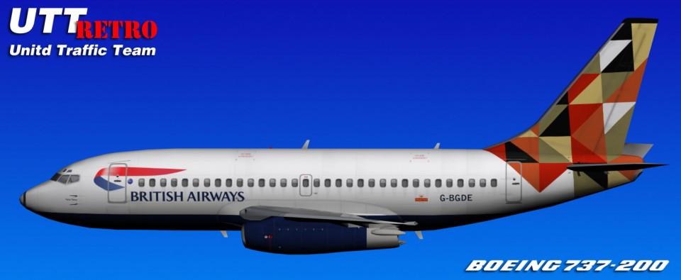 British Airways UTT Boeing 737-200 (G-BGDE) Retro
